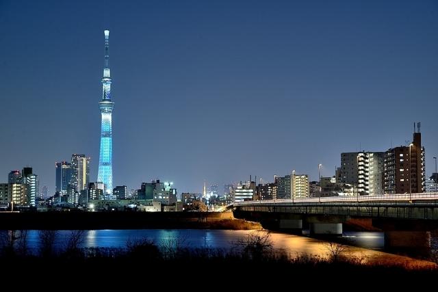 東京スカイツリーを臨む夜景