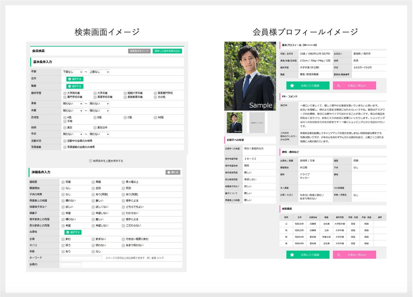 会員検索画面&会員プロフィールのイメージ