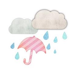 曇り&雨のイラスト