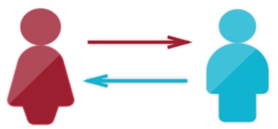 R婚によってつながる男女のイメージのピクトグラム