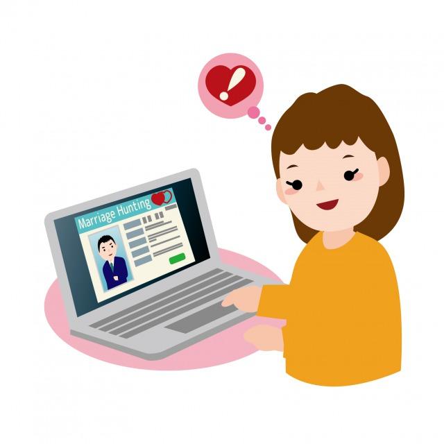 オンライン型結婚相談所のイメージイラスト
