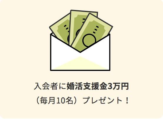 入会者に「結婚支援金3万円プレゼント!」のイラスト