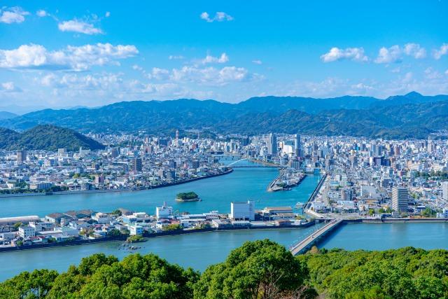 五台山から見る高知市の街並み