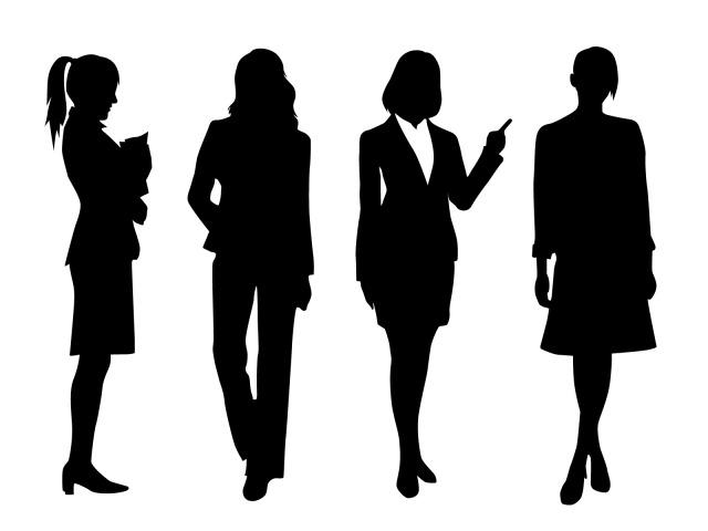 働く女性のシルエット