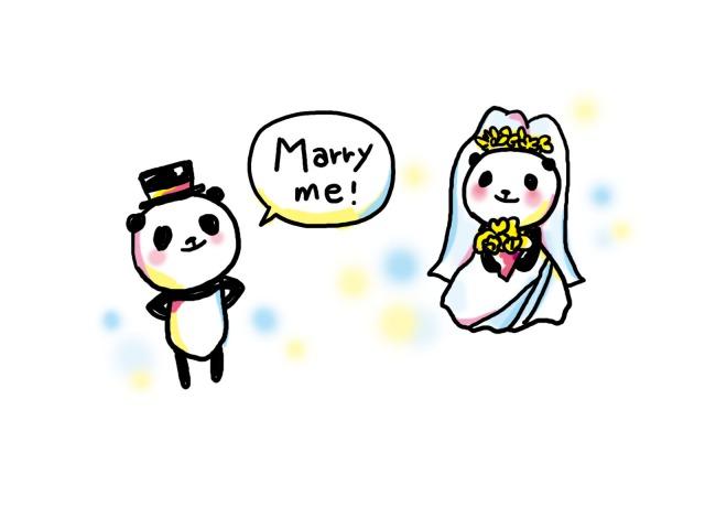 プロポーズするパンダのイラスト