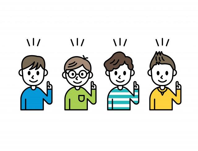人差し指を掲げる4人の男性