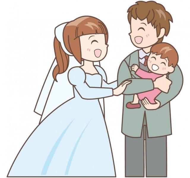 子連れ再婚のイラスト