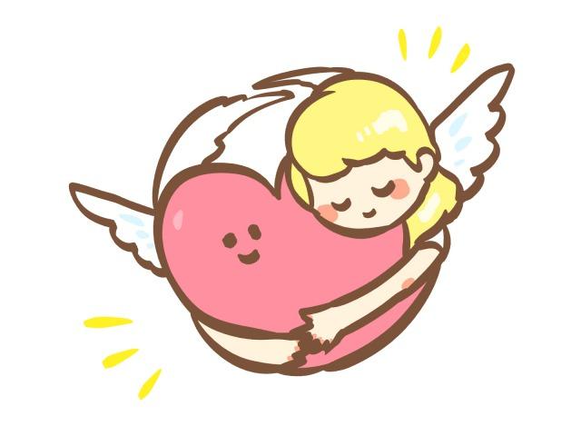 ハートを抱く天使のイラスト