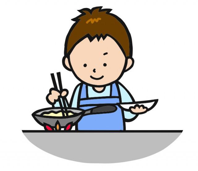 料理をする夫のイラスト