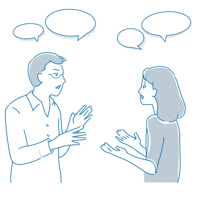 コミュニケーションを図る男女