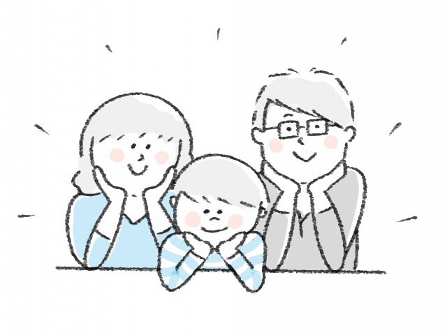 仲良し3人家族のイラスト