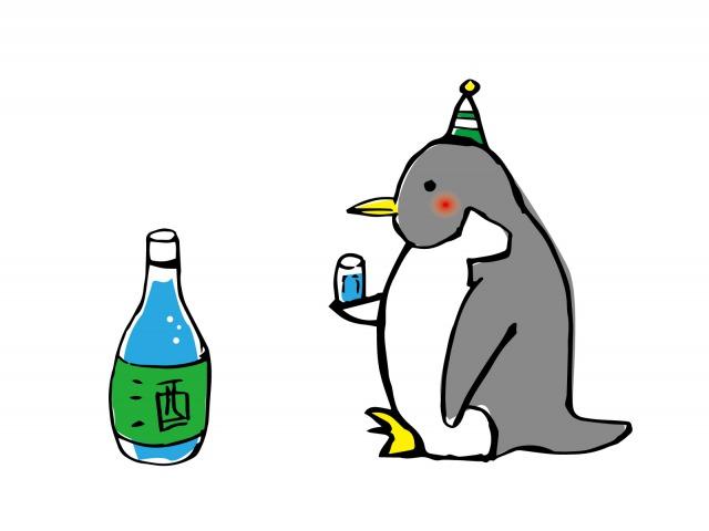 一人で酒を飲むペンギン