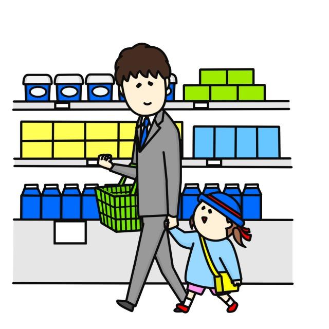 子連れで買い物をするシンパパのイラスト