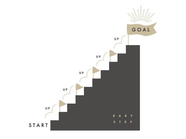 スタートからゴールまでの階段のイラスト