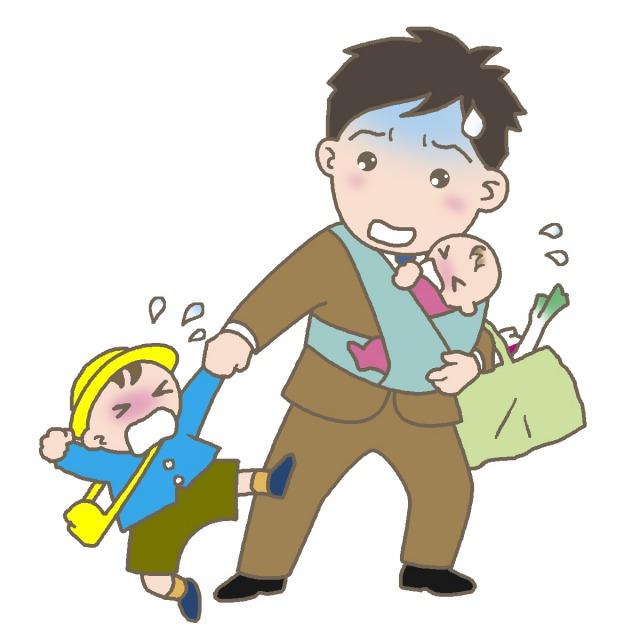子育てに苦労する父親のイラスト