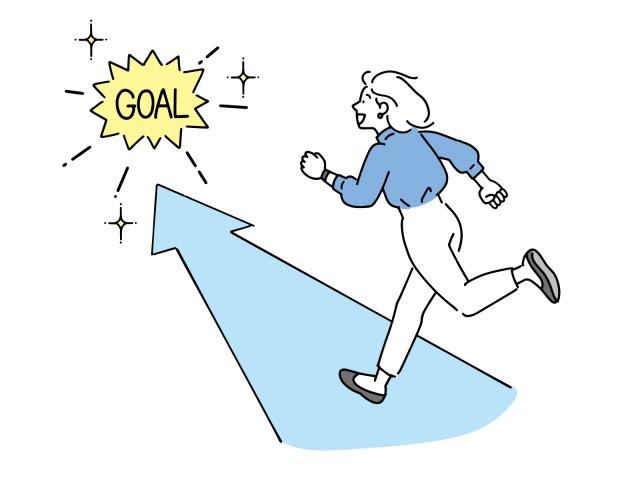ゴールに向かって走る人のイラスト