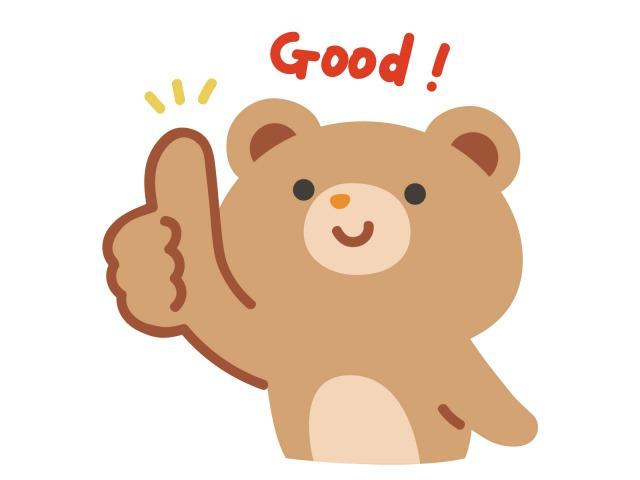「Good」のサインを右手で出すクマのイラスト